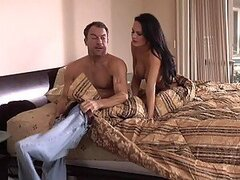 Horny brunette fucks with her husband early in the morning