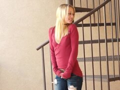 Superb blonde teen...
