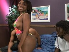 Ebony hottie takes on 2 big cocks