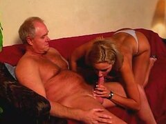 Old man fucks chick with hot tits