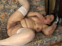 Rosalia sucks a dick before taking it in her hairy and meaty pussy