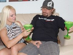 A blonde bimbo invites her neighbor over as she's in the mood for some loving