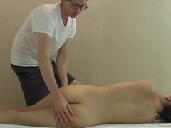 Masseuse fingers her pussy, 69 oral and fucks her legs