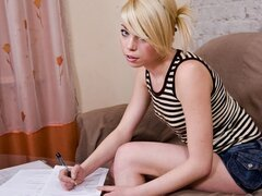 A frisky 18 year old Euro babe stops her study to shag her ever randy boyfriend