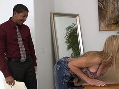 Nicely dressed black man  makes Lisa DeMarco horny