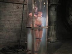 This hot naked slut likes to be tortured with fear.  She lies in a tank of water