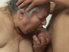 Dude whacking off gets fat old lady to suck and fuck