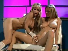 Lesbian Nymphos with Big Natural Tits Toying Each Other's Shaved Cunts