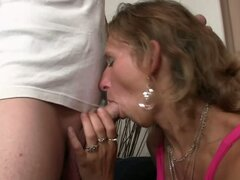 Mature mom blows and bangs son in law