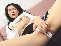 Nasty japanese momma solo pussy flirting on couch
