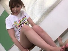 Cute and kinky Miku Airi gives her guy a footjob