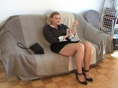 Wonderful pantyhose footjob with Happy End