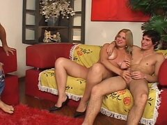 Blonde with two bi boys in threesome