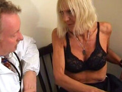 Milf blonde gives a blowjob for her boss