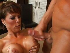 Horny brunette milf with big tits getting fucked hard and gets cumshot