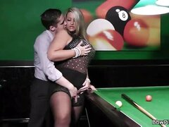 BBW blonde done on a pool table