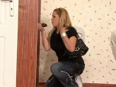Messy gloryhole sex on toilet with hot blonde