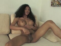 Gorgeous asian tranny jerking off