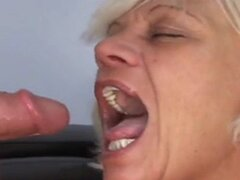 Two guys fucking blonde granny