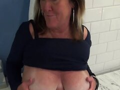 Huge natural tits MILF BTS