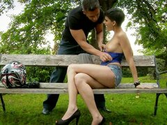 Great Hardcore Outdoors Anal Sex with a Short-Haired Beauty