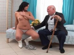 Grandpa gets hard in her teen mouth