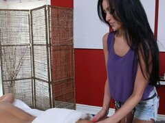 Hot blonde Breanna Benson gets relaxasation massage from Jana Jordan
