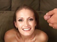 Saucy Hailey Young enjoys a hard spit roasting before getting showered in cum