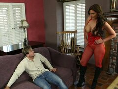 Sexy woman Phoenix Marie in red outfit saves man with her pussy