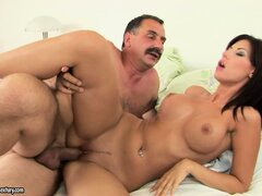Young tart Kendra shows what she loves doing to stiff old dicks