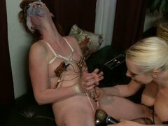 Lorelie Lee ripping a hot babe's cunt with long dildo