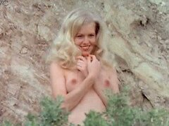 Exquisite Retro Blonde Misty Rowe Posing Topless Outdoors